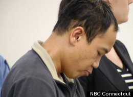 Alounkune Vongsarasinh hangs his head in court after he allegedly recorded his nude 15-year-old roommate in the bathroom.