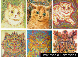 Increasingly abstract paintings of cats by Louis Wain (1860-1939), who is believed to have suffered from schizophrenia
