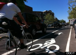 A new bike lane was recently installed on Columbia Road through Adams Morgan.