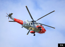 Three of the stranded were airlifted to safety by a helicopter (file picture)