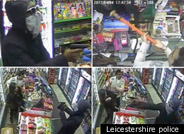 The shopkeeper beat the man off with a stick
