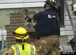 Firefighters cut a 600-pound man from his home in Pennsylvania on Monday.