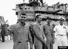 Astronauts from left to right, Lunar Module pilot Fred W. Haise Jr., Command Module pilot John L. Swigert Jr. and Commander, James A. Lovell Jr.