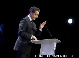 Le candidat UMP Nicolas Sarkozy