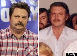 Nick Offerman as Ron Swanson (R) and John Swartzwelder.