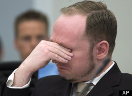 Anders Breivik wiped tears away as his video was shown to the court