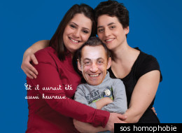 L'affiche de Sos homophobie mettant en scène Nicolas Sarkozy.