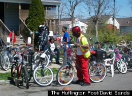 Detroit's East Side Riders put their bikes out on display.