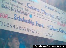 At a block party Saturday, Caine Monroy was presented with a $152,262 check to use towards his college education; the Goldhirsh Foundation will match every dollar up to $250,000 to go towards Caine's Arcade Foundation.