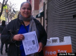 Sonia Figueroa at a volunteer income tax assistance site in West Harlem on April 14