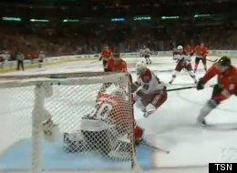Mikkel Boedker scores the winning goal for the Phoenix Coyotes against the Chicago Blackhawks In Game 4.