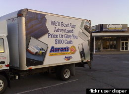 A store and delivery truck from Aaron's, the nation's second largest rent-to-own retailer. From <a href=