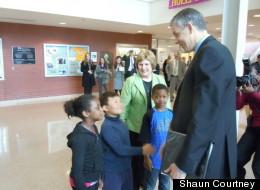 Students greet Secretary of Education Arne Duncan at Stoddert Elementary.