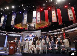 NFL commissioner Roger Goodell speaks as former players and NFL draft prospects look on before the first round of the NFL football draft on Thursday, April 28, 2011, in New York.