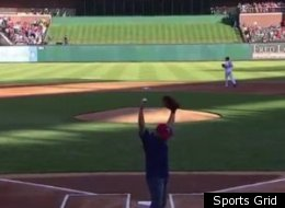 Ivan Rodriguez threw out the first pitch from home plate in Monday's Rangers-Yankees game.