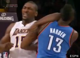 Metta World Peace was suspended seven games for elbowing Oklahoma City's James Harden.