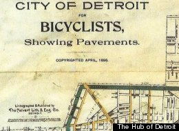 This map of Detroit bike routes from 1896 showed cyclists the routes used to escape to the countryside.