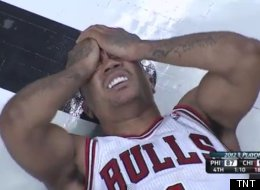 Bulls vs. 76ers: Derrick Rose (1) reacts after an injury, April 28, 2012.
