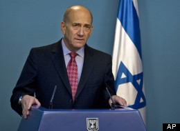 In this March 17, 2009 file photo, then Israeli Prime Minister Ehud Olmert gives a statement to the media at his Jerusalem office. (AP Photo/Sebastian Scheiner, File)