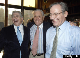 Carl Bernstein, Ben Bradlee and Bob Woodward attend the screening of 'All The President's Men' at the Tribeca Cinemas on July 19, 2005 in New York City. (Photo by Brad Barket/Getty Images)