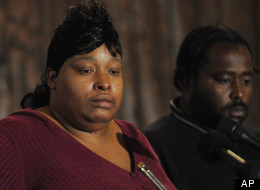 Julia Hudson, sister of actress Jennifer Hudson, left, and Greg King plead for the safe return of their son Julian King who was abducted from the Hudson family home where the sisters' mother and brother were found dead in Chicago, Saturday Oct. 25, 2008. King was found dead two days later.