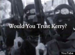 The Progress for America Voter Fund, a group run by allies of George W. Bush in 2004, ran ads (like the one pictured) questioning Democrat John Kerry's ability to fight terrorism.