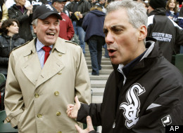 Chicago mayor Richard M. Daley, left, and mayor-elect Rahm Emanuel share a moment about their favorite Chicago baseball teams, before a baseball game between the Chicago White Sox and the Tampa Bay Rays, Thursday, April 7, 2011 in Chicago. Daley a life-long White Sox fan and Emanuel a Cubs fan. (AP Photo/Charles Rex Arbogast)
