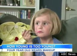 Four-year-old Brenna Cross applying makeup on Good Morning America.