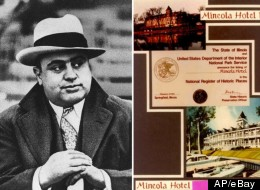 In this Jan. 19, 1931 file photo, Chicago mobster Al Capone is seen at a football game in Chicago (left). The eBay photo of the Mineola Hotel and Marina, Capone's old hideaway.