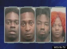 These four suspects were arrested after their getaway car crashed.