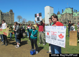 An occupy protest drew approximately 100 people to Parliament Hill Saturday. (Althia Raj/HuffPost)