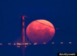 The May 5 Supermoon over the Golden Gate Bridge.