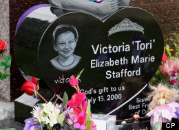 The grave of Victoria (Tori) Stafford on Easter Sunday, the third anniversary of the day the eight-year-old girl vanished while walking home from school, in Woodstock, Ontario, Sunday, April, 8, 2012. THE CANADIAN PRESS/Dave Chidley