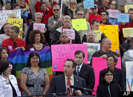 Openly gay state Senator Pat Steadman, center, speaks at a rally in support of Civil Unions at the Capitol in Denver on Tuesday, May 8, 2012. The rally pushed for the passage of a Civil Unions bill that must be debated on the House floor before it can be passed on Wednesday the final day of the Legislative session. (AP Photo/Ed Andrieski)