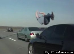 This unidentified man was hit by a car on a Russian freeway and, according to sources, only suffered a broken leg.