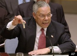 Colin Powell with vial he said could contain anthrax, at the United Nations in 2003.