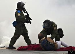 Un policier a tenu à s'exprimer au sujet des manifestations étudiantes qui ont lieu presque tous les jours depuis près de trois mois au Québec. (PC)
