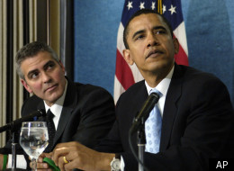 Actor George Clooney and then-Sen. Barack Obama (D-Ill.) take part in a news conference in Washington, Thursday, April 27, 2006.