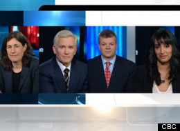 Chantal Hebert, Bruce Anderson, John Ivision and The Huffington Post Canada's Ottawa Bureau Chief Althia Raj on CBC's At Issue Panel. The group discussed Thomas Mulcair's Dutch disease comments on the oil sands and other energy issues. (CBC)