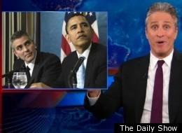 Jon Stewart burns President Barack Obama on George Clooney Dinner