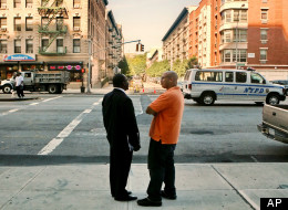 Courtney Bennett, left, and George Lucas, stand at Adam Clayton Blvd. and 148th Street in Harlem, New York, Friday Sept. 4, 2009. It's a location where Lucas has been stopped by police, a policing tactic both men have experienced on multiple occasions. Nationwide, more than a million people _ mostly black and Hispanic men _ are stopped, questioned and frisked annually by police. Nearly all are innocent of any crime, according to figures from departments around the country. (AP Photo/Bebeto Matth
