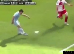 Sergio Aguero scores the goal that clinches the EPL title for Manchester City.
