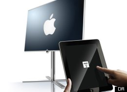 Montage photo du téléviseur Loewe avec commande iPad et du logo Apple