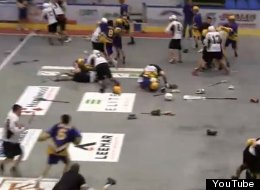 A lacrosse brawl breaks out between the Coquitlam Adanacs and Nanaimo Timbermen.