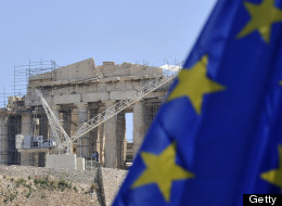 An EU flag is flies in front of the ancient Acropolis in Athens on May 9, 2012. (LOUISA GOULIAMAKI/AFP/GettyImages)