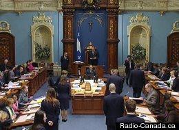 L'Assemblée nationale, le soir du 17 mai. (Radio-Canada.ca)