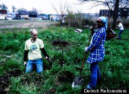 Detroit Reforesters are hard at work planting during their action day on April 15. The group's mission is transform vacant lots into vibrant forest ecosystems.