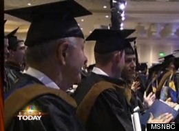 Thomas Demakes, 69, graduates from business school with his three sons.