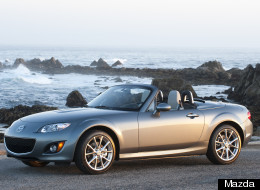 The Mazda MX5 Miata, pictured here, and the Alfa Romeo Spider will share the same underpinnings but get different body styles.