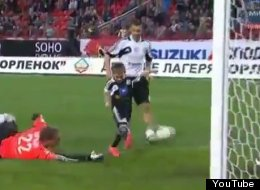 5-year-old Hrisan Dzheus of Russia scores a goal in a professional soccer game with some help from both clubs. (YouTube)